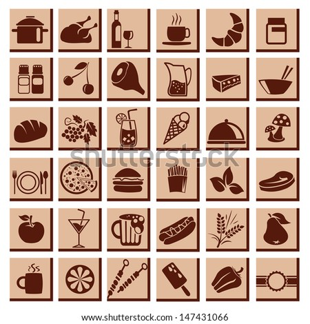 Restaurant Flat icons for Web and Mobile applications - stock vector