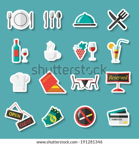 Restaurant food cooking and serving stickers set with menu wine table isolated vector illustration - stock vector