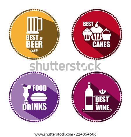 Restaurant food icons set. Color vector. - stock vector