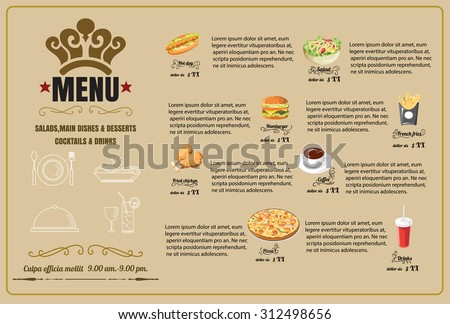 Restaurant Food Menu Design  vector format eps10 - stock vector