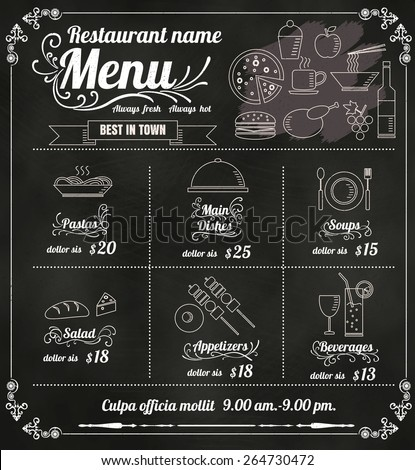 Restaurant Food Menu Design with Chalkboard Background vector format eps10 - stock vector