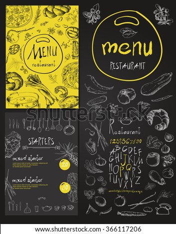 Restaurant Food Menu Vintage Design with Chalkboard Background vector set - stock vector