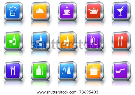 Restaurant Icon on Square Button with Metallic Rim Original Illustration - stock vector