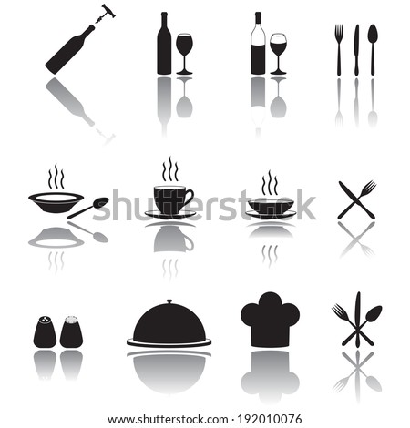 Restaurant Icon Set. Food and drink. - stock vector
