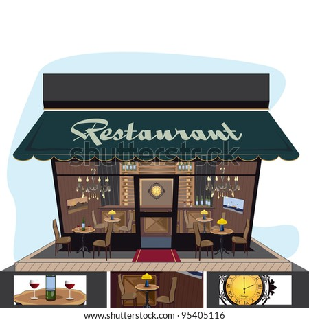 restaurant icon with a lot of details - stock vector