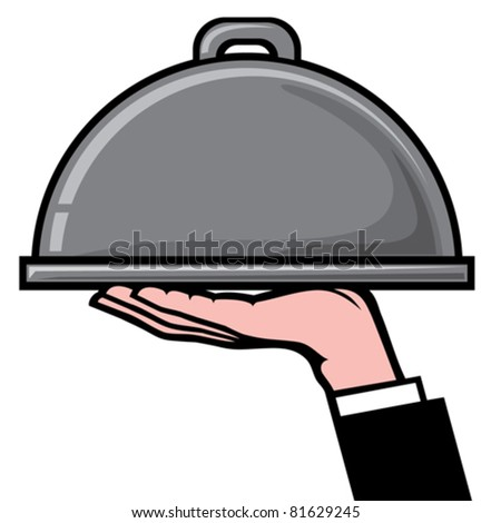 restaurant icon with tray of plate in hand - stock vector