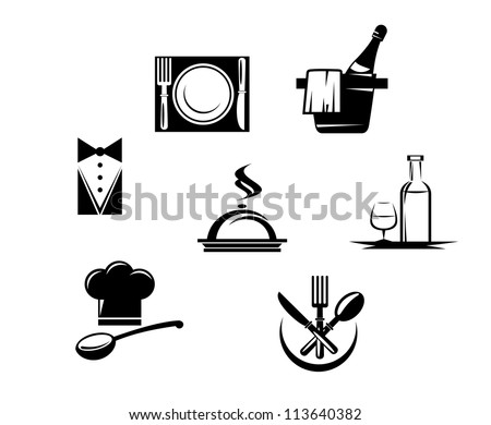 Restaurant icons and menu elements for design, such a emblem template. Jpeg version also available in gallery - stock vector