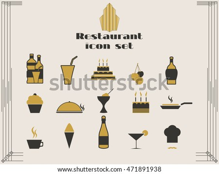 Restaurant Kitchen Illustration restaurant icons art deco style cooking stock vector 471891938
