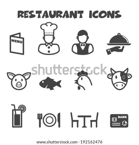 restaurant icons, mono vector symbols - stock vector