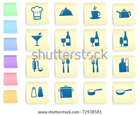 Restaurant Icons on Post It Note Paper Collection Original Illustration - stock vector