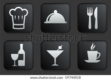 Restaurant Icons on Square Black Button Collection Original Illustration - stock vector