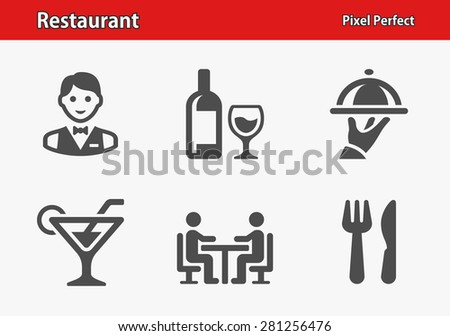 Restaurant Icons. Professional, pixel perfect icons optimized for both large and small resolutions. EPS 8 format. - stock vector