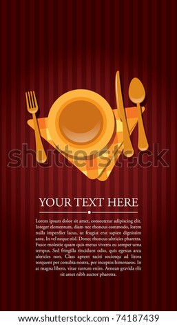 Restaurant invitation with text - stock vector