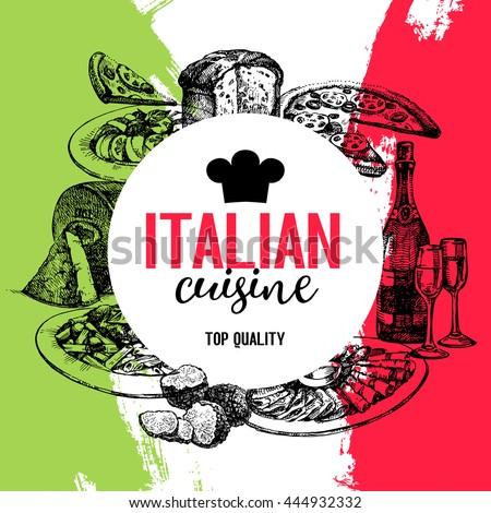 Restaurant Italian cuisine menu design. Vintage hand drawn sketch vector illustration - stock vector