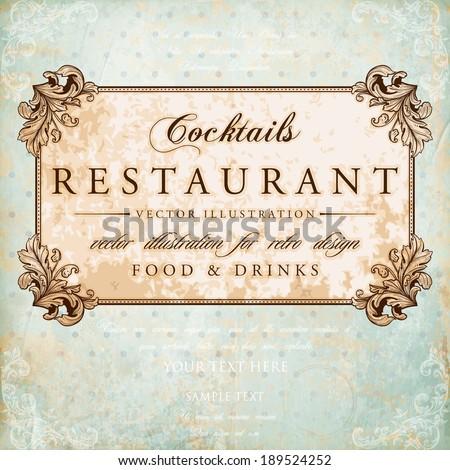 Restaurant Label Design with Old Floral Frame for Vintage Restaurant Design - stock vector
