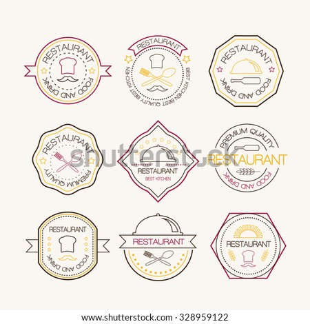 Restaurant logo in liner style. Retro restaurant vintage insignias or logotypes set. Vector design elements, business signs, logos, identity, labels, badges and objects. - stock vector