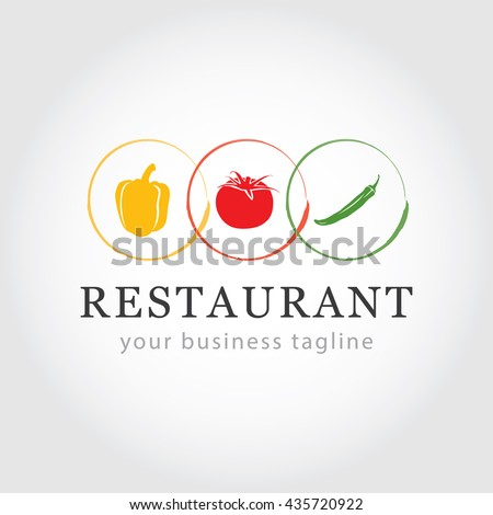 Restaurant Logo - Vegetable Icons - Food Industry Branding - Tomato, Pepper and Chilli