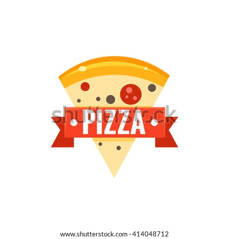 Restaurant Logo With Pizza Slice Flat Isolated Primitive Cartoon Style Illustration On White Background - stock vector