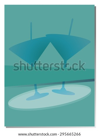 Restaurant menu background martini cocktail glasses ribbon blank element business vector illustration - stock vector