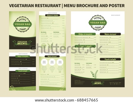 Restaurant Menu Brochure Template Vector Design Stock Vector