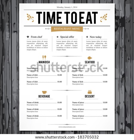 Restaurant Menu Stock Images, Royalty-Free Images & Vectors