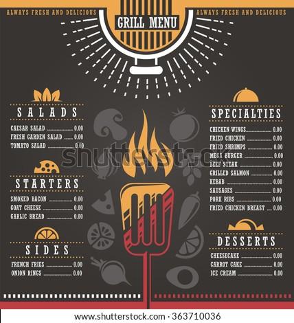 Restaurant menu design. Abstract menu layout concept for cafe bar on dark black background. Document template. Print mock up. - stock vector