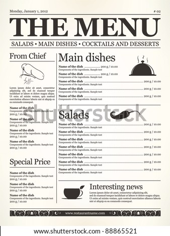 Restaurant menu design. Concept type of old newspaper - stock vector