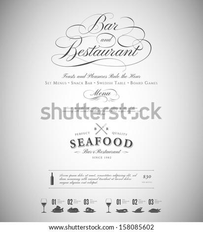 Restaurant menu design elements - stock vector