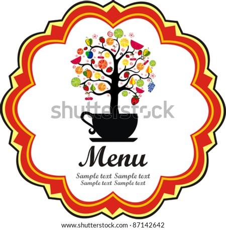Restaurant menu design. Fruits tree. Vector illustration - stock vector