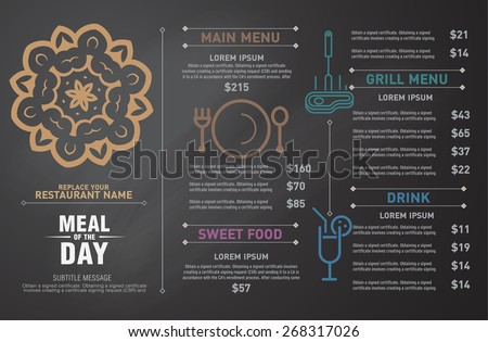 Restaurant menu design. hipster style. - stock vector