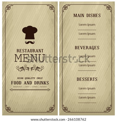 Restaurant menu design / Menu design with chef hat and mustache  - stock vector
