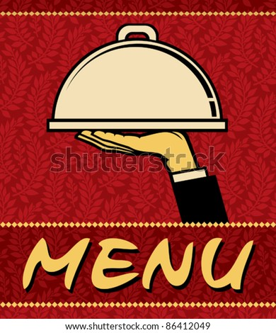 Restaurant menu design (restaurant icon with tray of plate in hand) - stock vector