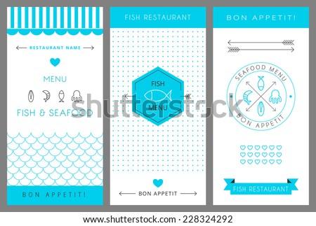 Restaurant menu design template. Fish and seafood menu. Vector illustration. - stock vector