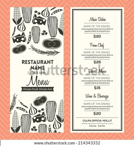 Restaurant Menu Design Template Layout - stock vector