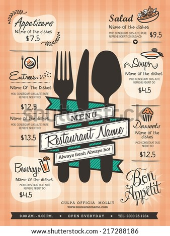 Restaurant Menu Design Template Layout - stock vector