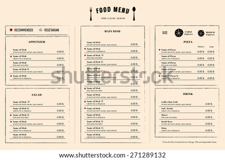 Restaurant Menu Design Template layout with logo name - stock vector