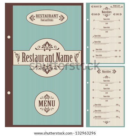 Restaurant Menu Design Template Vector Stock Vector 132963311