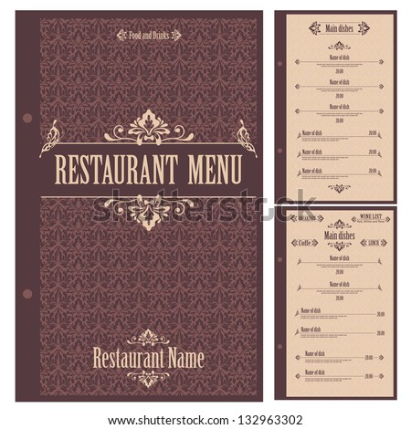 Restaurant Menu Design Template Vector Stock Vector 132963305