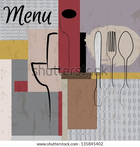 restaurant menu design template, with strokes and splashes, grungy - stock vector