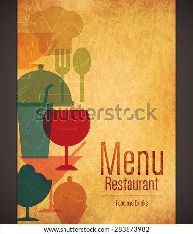 Restaurant menu design. Vector brochure template for cafe, coffee house, restaurant, bar. Food and drinks logotype symbol design. Vintage crumpled paper background - stock vector