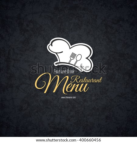 Restaurant menu design. Vector brochure template for cafe, coffee house, restaurant, bar. Food and drinks logotype symbol design. With chef hat, fork and spoon - stock vector