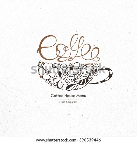 Restaurant menu design. Vector brochure template for cafe, coffee house, tea, restaurant, bar. Food and drinks logotype. Coffee symbols. Coffee cup design on vintage crumpled paper background - stock vector