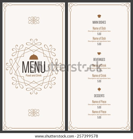 Restaurant Menu Design Vector Menu Brochure Vector 257399578 – Menu