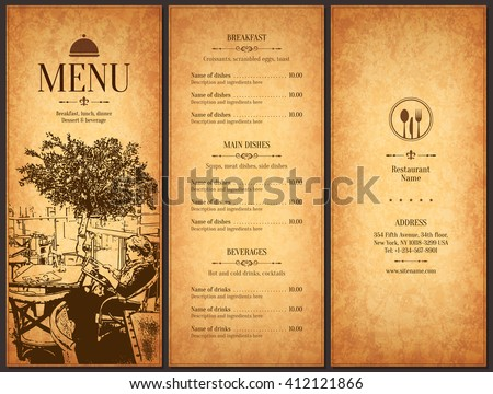 Restaurant Menu Design Vector Brochure Template Stock Vector