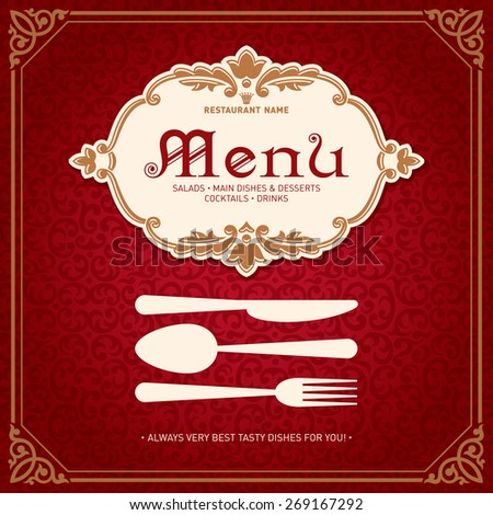 Restaurant Menu Design Vintage Style Template 2 Vector - stock vector
