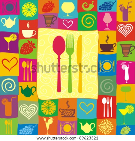 Restaurant menu design with cutlery silhouette. Food and drink seamless doodles pattern. Vector illustration - stock vector