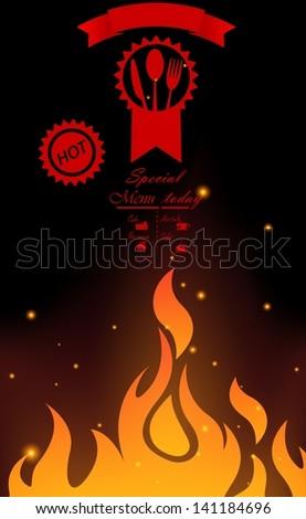 Restaurant menu design with flame - stock vector