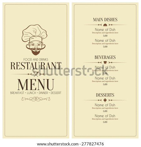 Restaurant menu design, with funny chef - stock vector