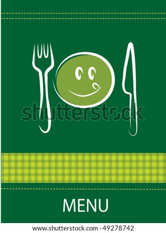 restaurant menu design with happy smiley face, fork and knife - stock vector