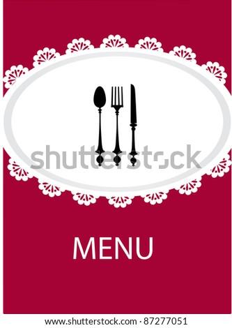 restaurant menu design with table utensil , vector - stock vector